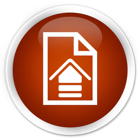 upload: Upload document icon brown glossy round button Stock Photo