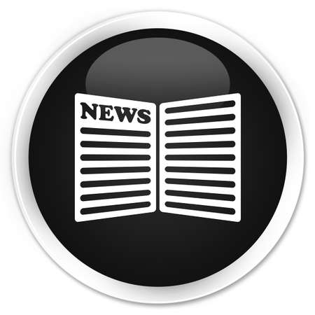 current events: Newspaper icon black glossy round button Stock Photo