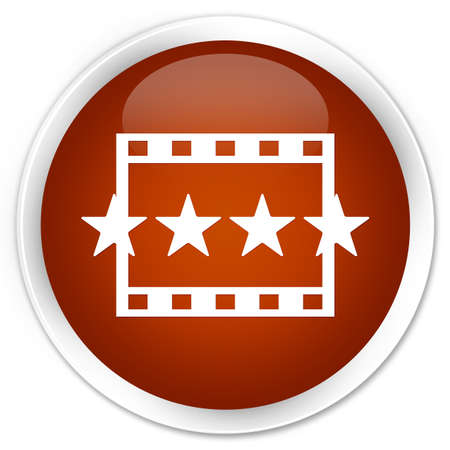 reviews: Movie reviews icon brown glossy round button Stock Photo