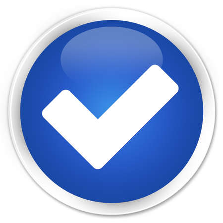 validate: Validate icon blue glossy round button Stock Photo