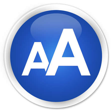 size: Font size icon blue glossy round button Stock Photo