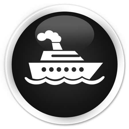 cruise ship icon: Cruise ship icon black glossy round button