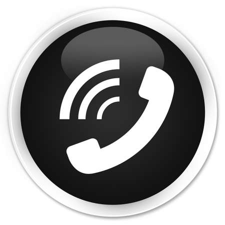phone button: Phone ringing icon black glossy round button