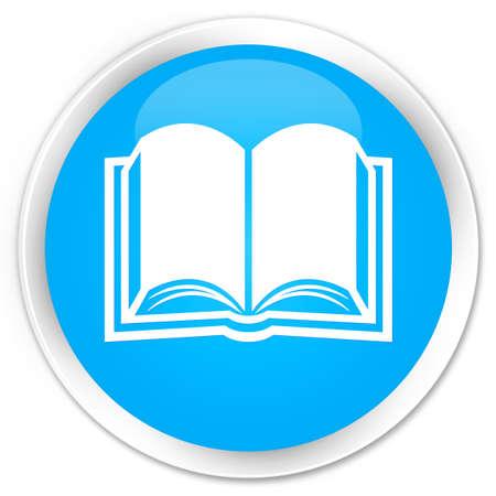 e magazine: Book icon cyan blue glossy round button