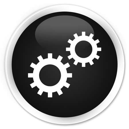 preference: Process icon black glossy round button