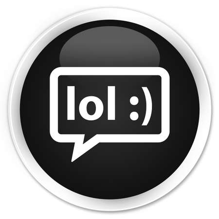 laugh out loud: LOL bubble icon black glossy round button Stock Photo