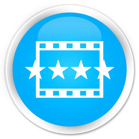 reviews: Movie reviews icon cyan blue glossy round button