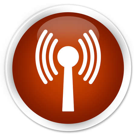 wlan: Wlan network icon brown glossy round button
