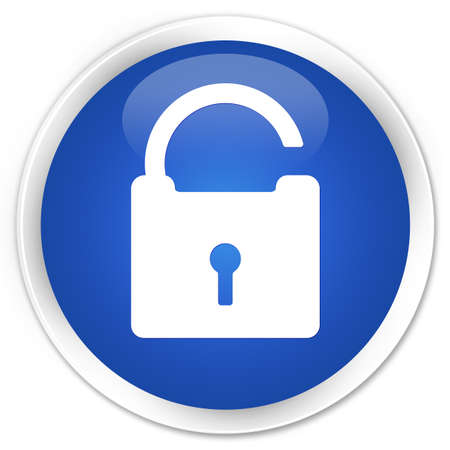 defend: Unlock icon blue glossy round button
