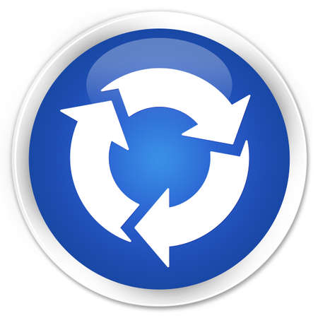 glossy button: Refresh icon blue glossy round button