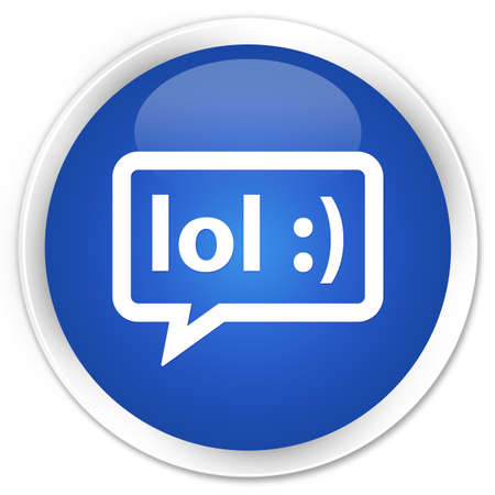 laugh out loud: LOL bubble icon blue glossy round button
