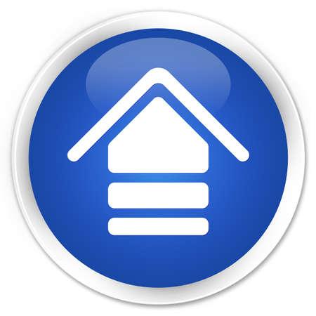 upload: Upload icon blue glossy round button Stock Photo