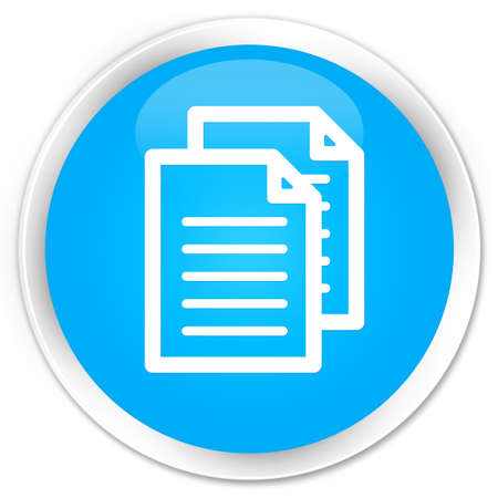 term and conditions: Documents icon cyan blue glossy round button
