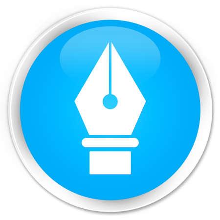 nib: Pen icon cyan blue glossy round button