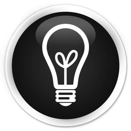 glossy button: Bulb icon black glossy round button Stock Photo
