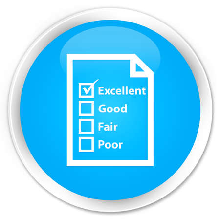 confirmed: Questionnaire icon cyan blue glossy round button