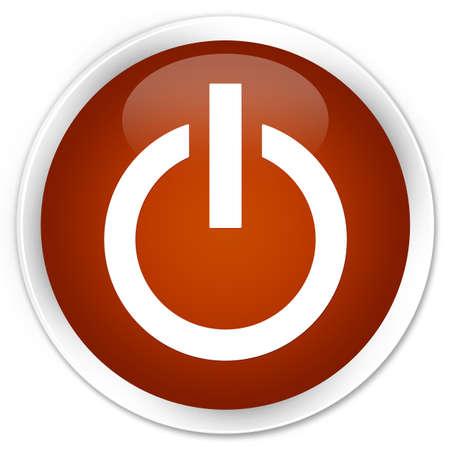 shutdown shut down: Power icon brown glossy round button