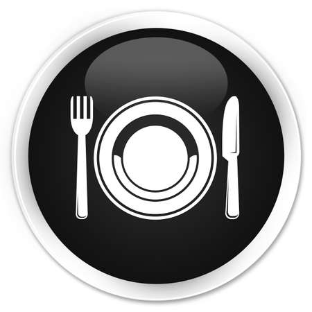 food plate: Food plate icon black glossy round button
