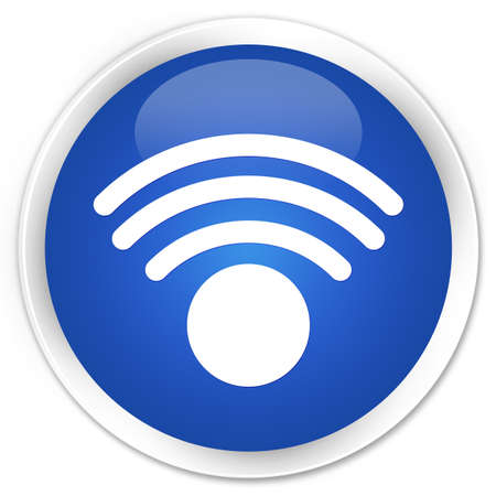 blue circle: Wifi icon blue glossy round button
