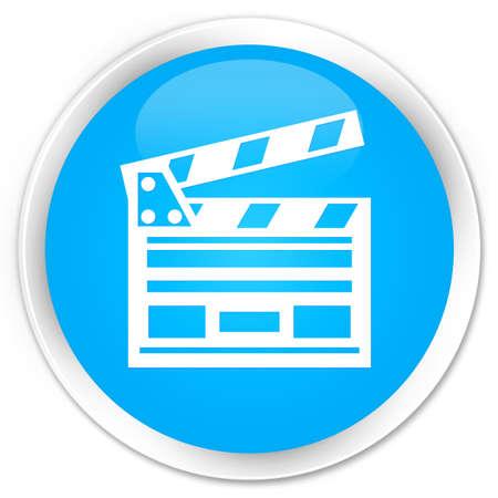Cinema clip icon cyan blue glossy round button