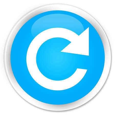 reply: Reply rotate icon cyan blue glossy round button Stock Photo