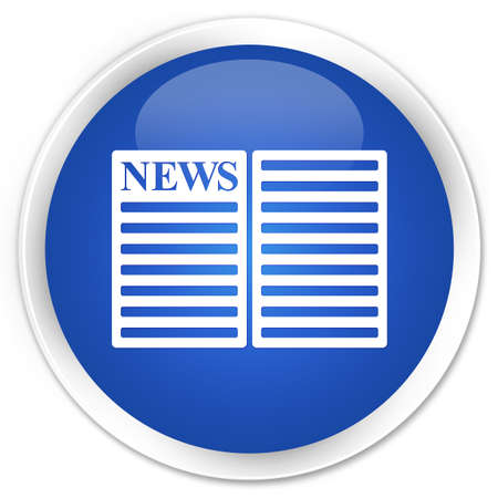 news current events: Newspaper icon blue glossy round button