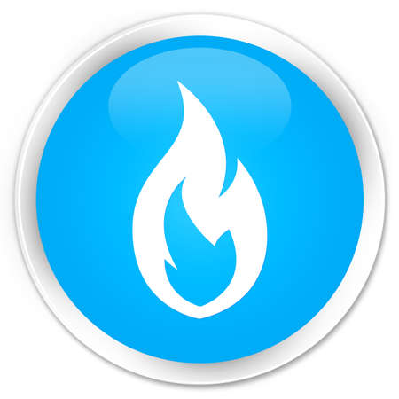blue flame: Fire flame icon cyan blue glossy round button Stock Photo