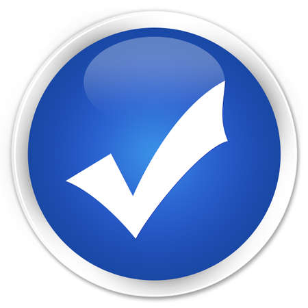 validation: Validation icon blue glossy round button Stock Photo