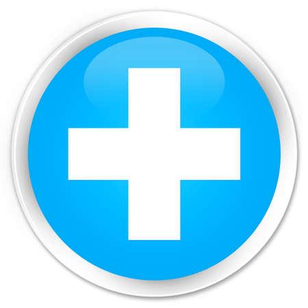 round: Plus icon cyan blue glossy round button Stock Photo