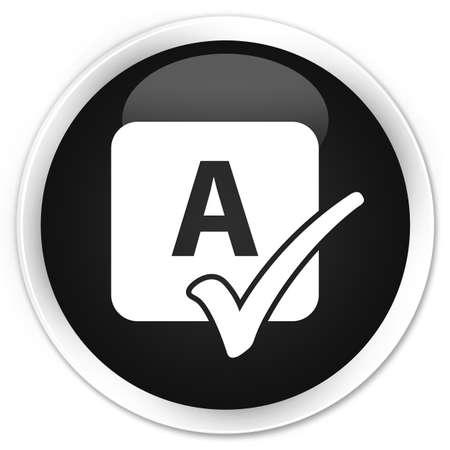 shiny black: Spell check icon black glossy round button