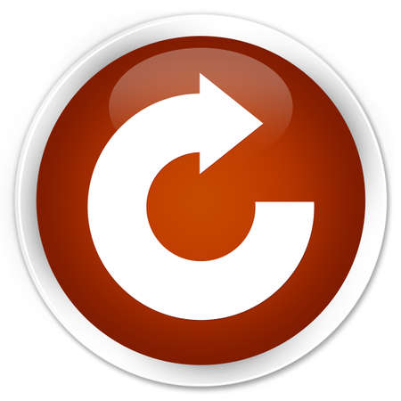 reply: Reply arrow icon brown glossy round button