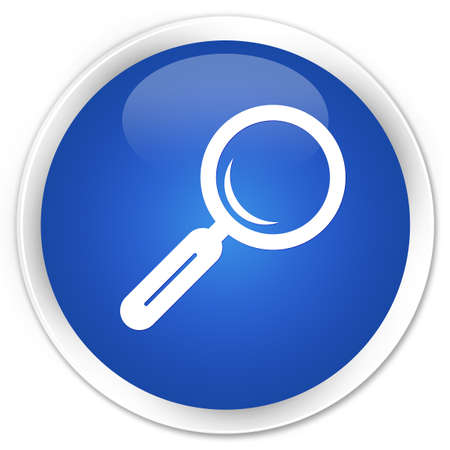 blue glass: Magnifying glass icon blue glossy round button