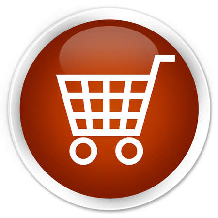 basket icon: Ecommerce icon brown glossy round button