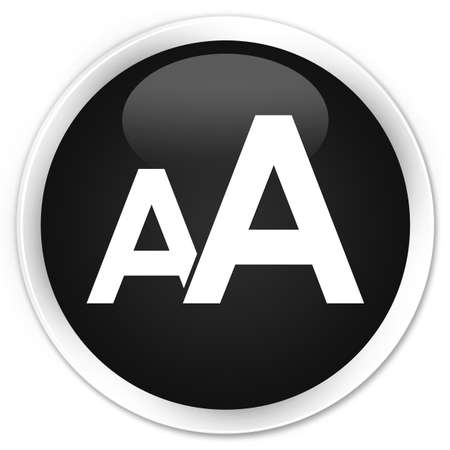 size: Font size icon black glossy round button Stock Photo