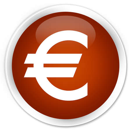 euro sign: Euro sign icon brown glossy round button