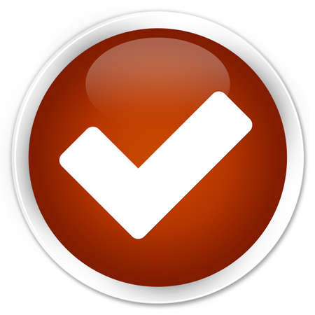 validate: Validate icon brown glossy round button