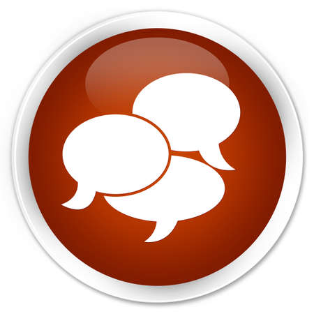 comments: Comments icon brown glossy round button Stock Photo