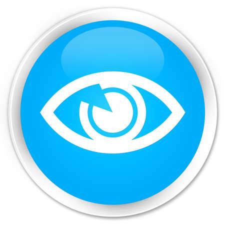 blue eye: Eye icon cyan blue glossy round button Stock Photo