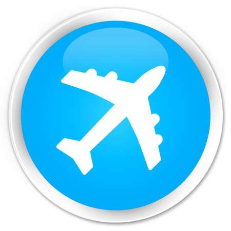 airway: Plane icon cyan blue glossy round button