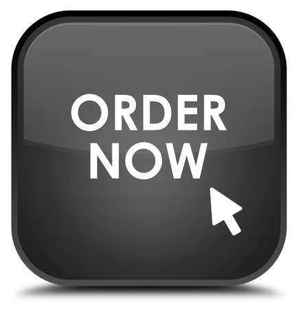 in order: Order now black square button Stock Photo
