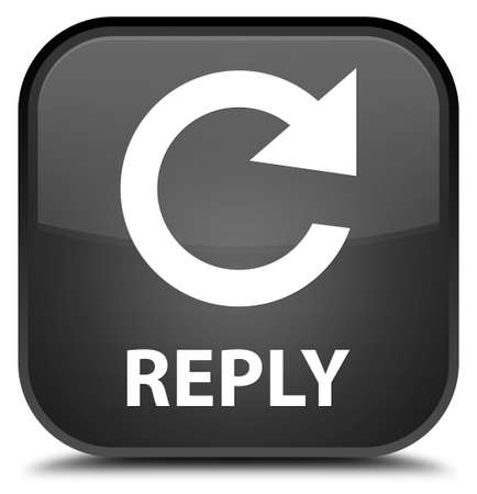 reply: Reply (rotate arrow icon) black square button Stock Photo