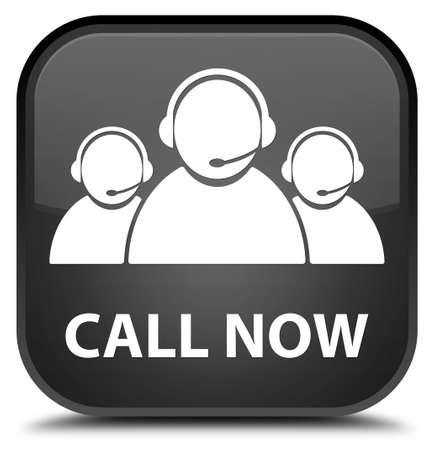 black button: Call now (customer care team icon) black square button