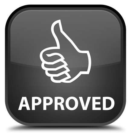 thumbs up icon: Approved (thumbs up icon) black square button Stock Photo