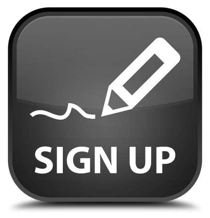 black: Sign up black square button