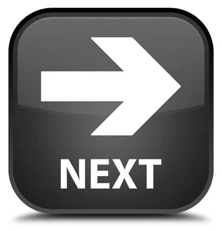 go forward: Next black square button Stock Photo