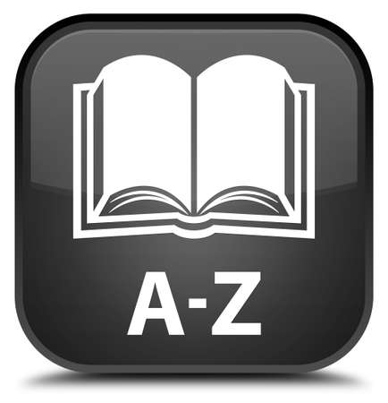 az: A-Z (book icon) black square button Stock Photo