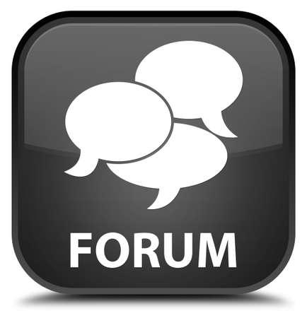 comments: Forum (comments icon) black square button