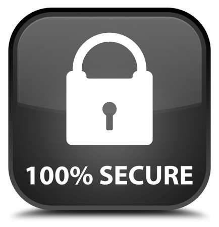 secure: 100% secure black square button Stock Photo