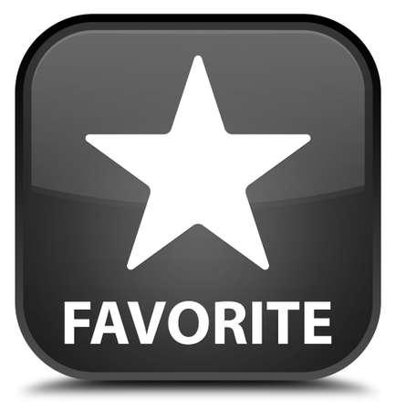black button: Favorite (star icon) black square button Stock Photo