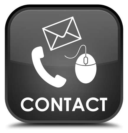 email contact: Contact (phone, email and mouse icon) black square button